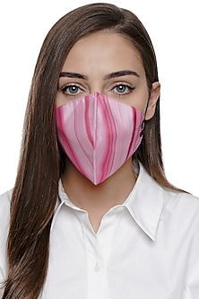 Pink Marble Printed Antimicrobial Mask With Zip Pouch by Limerick By Abirr N' Nanki
