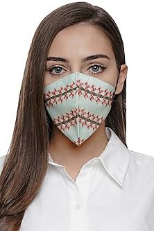 Pista Green Lilly Printed Antimicrobial Mask With Zip Pouch by Limerick By Abirr N' Nanki
