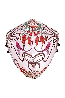 Pink Printed Antimicrobial Mask With Zip Pouch by Limerick By Abirr N' Nanki