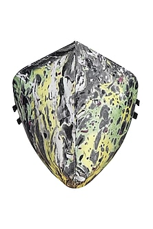 Green & Grey Printed Antimicrobial Mask With Zip Pouch by Limerick By Abirr N' Nanki