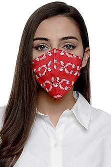 Coral Printed Antimicrobial Mask With Zip Pouch by Limerick By Abirr N' Nanki