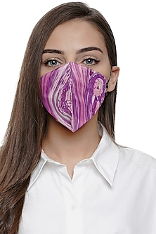Purple Printed Antimicrobial Mask With Zip Pouch by Limerick By Abirr N' Nanki