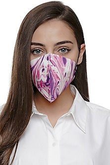 Pink & Ivory Printed Antimicrobial Mask With Zip Pouch by Limerick By Abirr N' Nanki