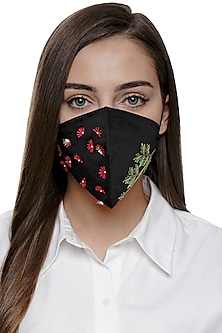 Black Embroidered Antimicrobial Mask With Zip Pouch by Limerick By Abirr N' Nanki
