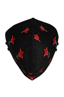 Black Embroidered Antimicrobial Mask With Pouch by Limerick By Abirr N' Nanki