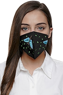 Black Dragonfly Embroidered Antimicrobial Mask With Pouch by Limerick By Abirr N' Nanki