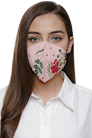 Blush Pink Embroidered Antimicrobial Mask With Zip Pouch by Limerick By Abirr N' Nanki
