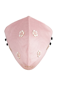 Blush Pink Floral Embroidered Antimicrobial Mask by Limerick By Abirr N' Nanki