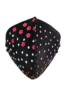 Black Embroidered Antimicrobial Mask by Limerick By Abirr N' Nanki
