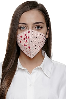 Blush Pink Embroidered Antimicrobial Mask by Limerick By Abirr N' Nanki