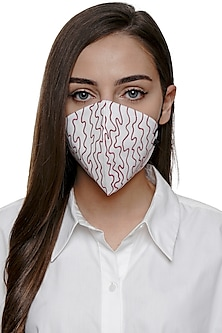 Ivory Embroidered Antimicrobial Mask With Pouch by Limerick By Abirr N' Nanki