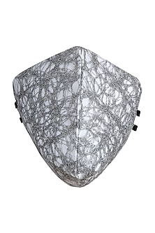 Silver Embroidered Antimicrobial Mask With Zip Pouch by Limerick By Abirr N' Nanki
