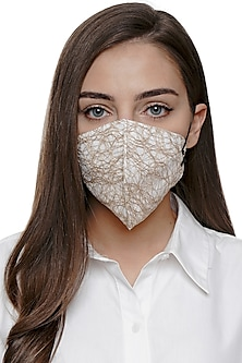 Golden Embroidered Antimicrobial Mask With Zip Pouch by Limerick By Abirr N' Nanki