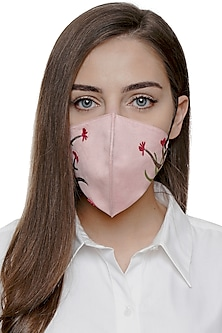 Blush Pink Embroidered Antimicrobial Mask With Pouch by Limerick By Abirr N' Nanki