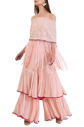 Pink Embroidered Off Shoulder Blouse With Palazzo Pants by Limerick By Abirr N' Nanki