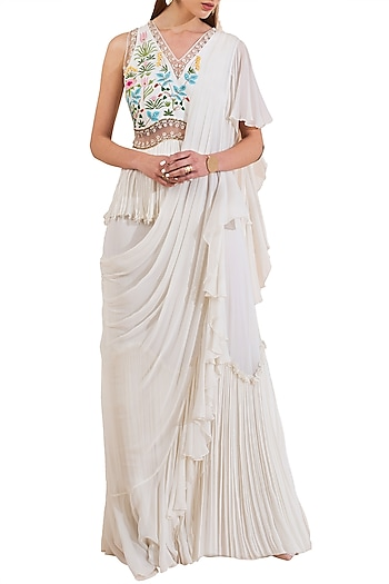 Ivory Embroidered Pre-Stitched Peplum Saree by Limerick By Abirr N' Nanki