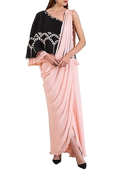 Pink & Black Embroidered Pre-Stitched Draped Saree by Limerick By Abirr N' Nanki