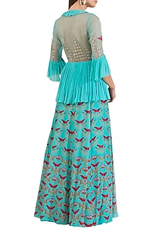 Turquoise Embroidered Printed Peplum Top With Skirt by Limerick By Abirr N' Nanki