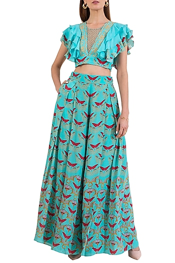 Turquoise Embroidered Blouse With Pleated Pants by Limerick By Abirr N' Nanki