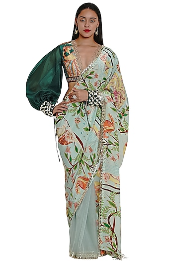 Green Embroidered & Printed Saree by Limerick By Abirr N' Nanki