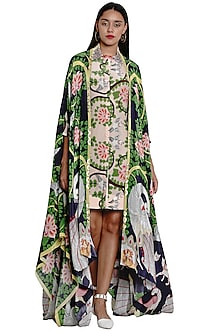 Navy Blue Embroidered & Printed Cape by Limerick By Abirr N' Nanki