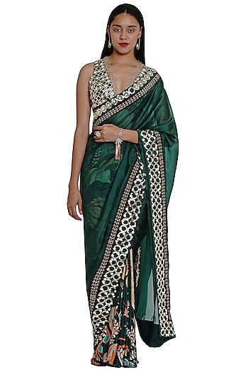 Dark Green Printed & Embroidered Saree by Limerick By Abirr N' Nanki