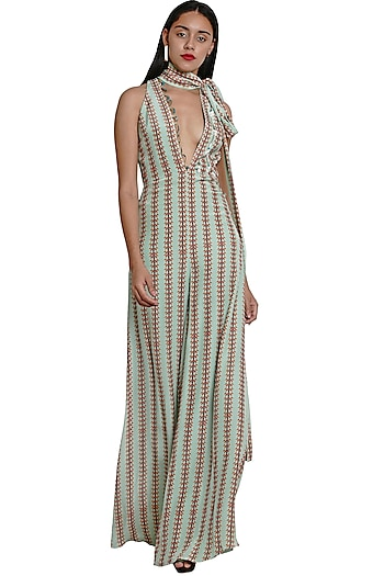 Pistachio Green Embroidered Jumpsuit by Limerick By Abirr N' Nanki