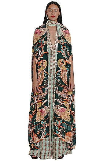 Dark Green Hand Embroidered Cape by Limerick By Abirr N' Nanki