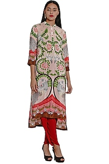 Blush Pink Tunic With Cutwork Embroidery by Limerick By Abirr N' Nanki