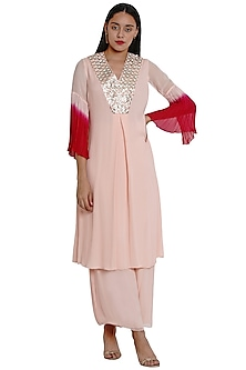 Blush Pink Embroidered Kurta With Pants by Limerick By Abirr N' Nanki