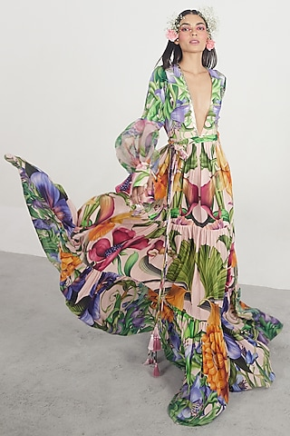 Multi Colored Floral Printed Dress by Limerick By Abirr N' Nanki