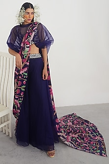 Navy Blue Printed & Embellished Pant Saree Set by Limerick By Abirr N' Nanki