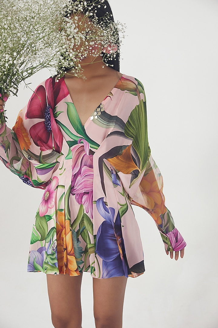 Pink Embroidered Draped Dress by Limerick By Abirr N' Nanki