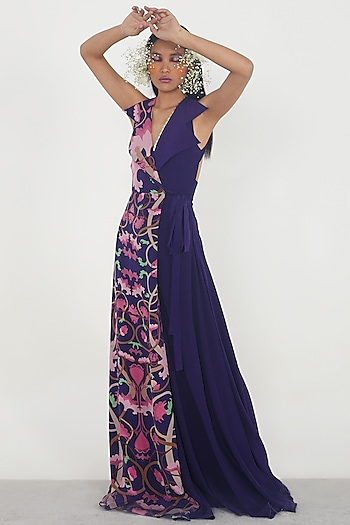 Navy Blue Printed Draped Jumpsuit by Limerick By Abirr N' Nanki