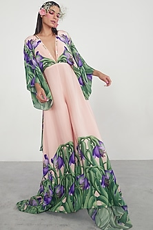 Pink Printed & Embroidered Jumpsuit by Limerick By Abirr N' Nanki