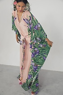 Pink Printed & Embroidered Kaftan Dress by Limerick By Abirr N' Nanki