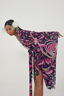 Ivory Printed Kaftan Dress by Limerick By Abirr N' Nanki