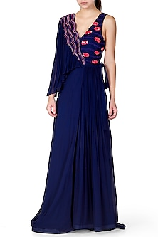 Navy Blue Embroidered Gown by Limerick By Abirr N' Nanki