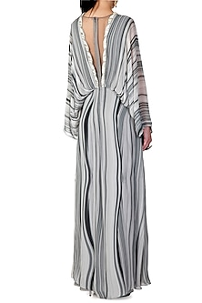 Grey Shaded Embroidered Cape Jumpsuit by Limerick By Abirr N' Nanki