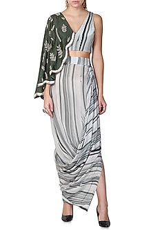 Grey Shaded Embroidered Cape Sleeved Top With Draped Skirt by Limerick By Abirr N' Nanki