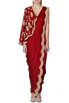Wine Embroidered Pre-Draped Saree Set by Limerick By Abirr N' Nanki