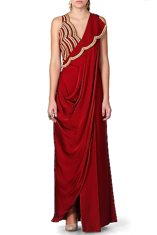 Wine Embroidered Pre-Draped Saree by Limerick By Abirr N' Nanki