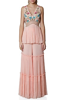 Blush Pink Embroidered Peplum Top With Sharara Pants by Limerick By Abirr N' Nanki