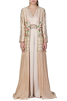 Gold Embroidered Jumpsuit With Jacket by Limerick By Abirr N' Nanki