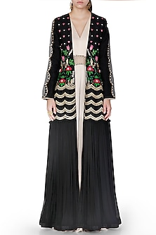 Black & Gold Embroidered Jumpsuit With Jacket by Limerick By Abirr N' Nanki