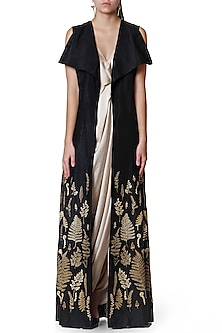 Black & Gold Draped Saree With Jacket by Limerick By Abirr N' Nanki