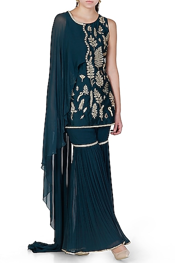Teal Embroidered Draped Kurta With Sharara Pants by Limerick By Abirr N' Nanki