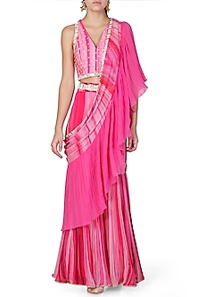 Pink Embroidered Sharara Set by Limerick By Abirr N' Nanki