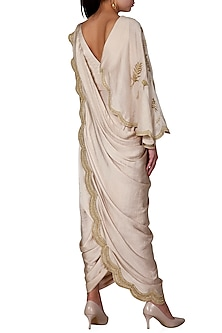 Gold Embroidered Pre-Draped Saree Set by Limerick By Abirr N' Nanki