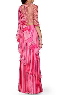 Pink Shaded Embroidered Pre-Draped Saree Set by Limerick By Abirr N' Nanki